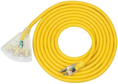 DEWENWILS 15FT 12/3 Gauge Indoor/Outdoor Tri-Tap Extension Cord Splitter HTOY15C