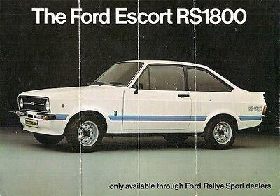 Ford Escort RS 1800 Mk2 1975-76 UK Market Foldout Sales Brochure