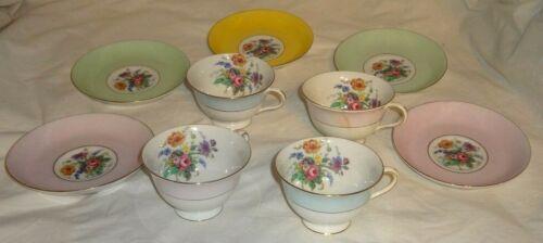 Colclough 5 Saucers 4 Cup Fine Bone China Longton England Demitasse Floral Motif