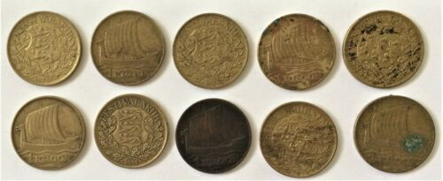 WHOLESALE - 10 (TEN) ESTONIA CIRC 1 KROON COINS of 1934 KM # 16 with VIKING SHIP