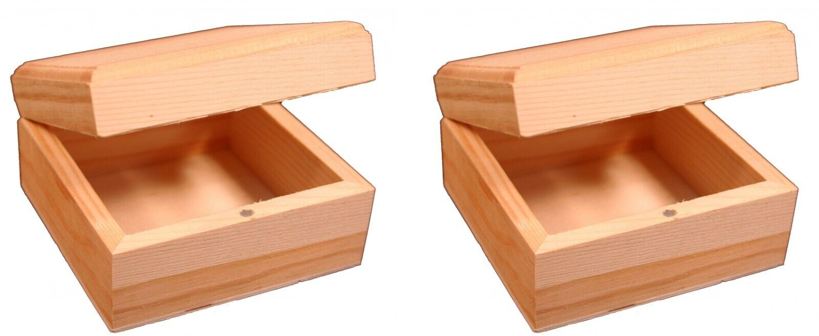 Mini Wood Craft Box 3.5 Inch, Unfinished, Hinged Lid and Magnetic Closure-2 pack Crafting Pieces