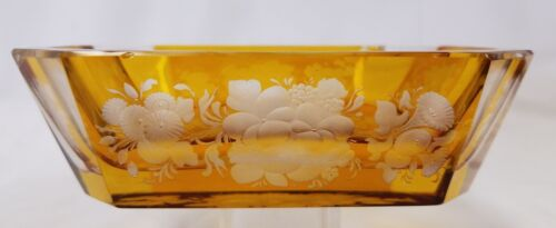Antique Amber Cut Engraved to Clear Glass 8 Side Bowl