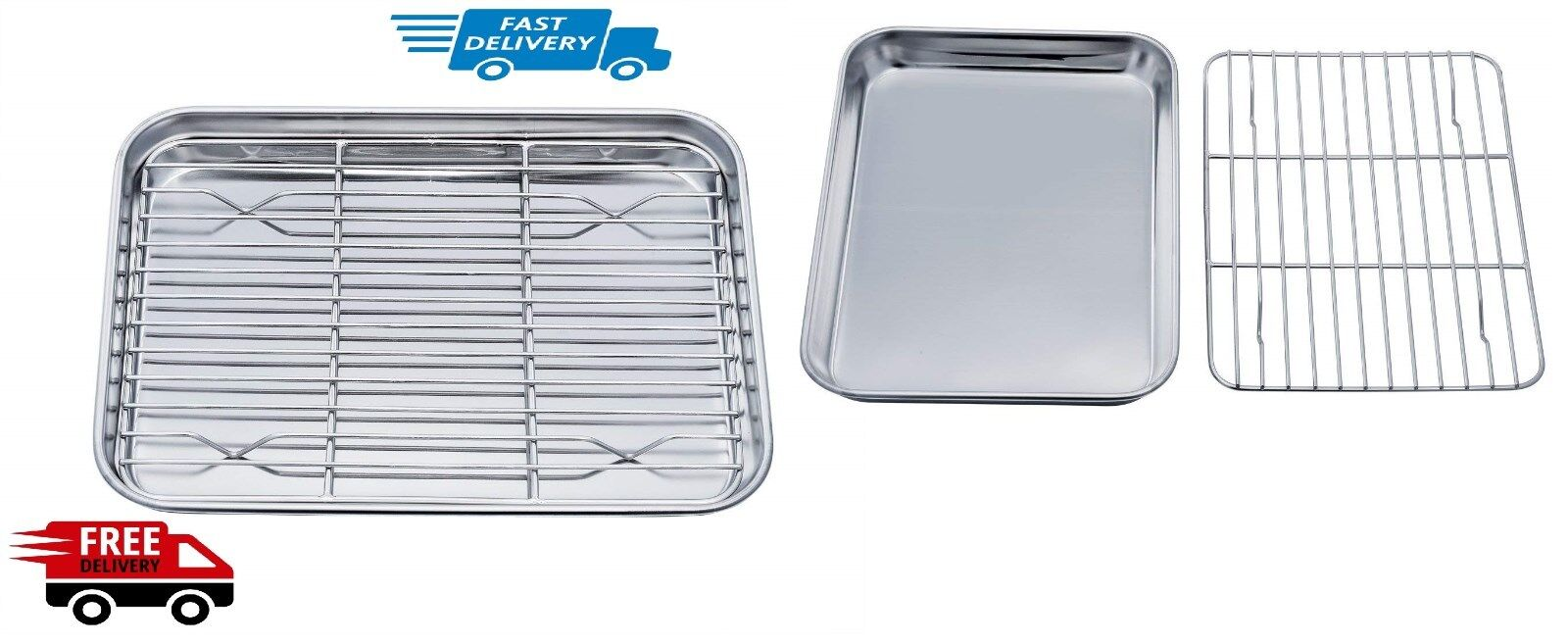 TeamFar Toaster Oven Pan Tray with Cooling Rack, Stainless S