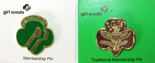 (Set of 2) GIRL SCOUTS Traditional Membership Pin & Membership Pin 09001/14 NEW