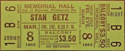 STAN GETZ - 1963 - FULL & UNUSED ORIGINAL CONCERT TICKET - PITTSBURGH - VINTAGE