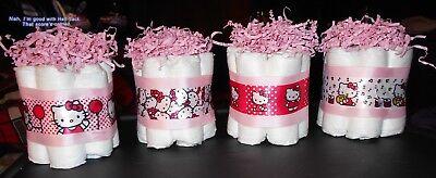 Hello Kitty Mini Diaper Cakes Centerpiece Baby Shower](Hello Kitty Baby Shower Cakes)