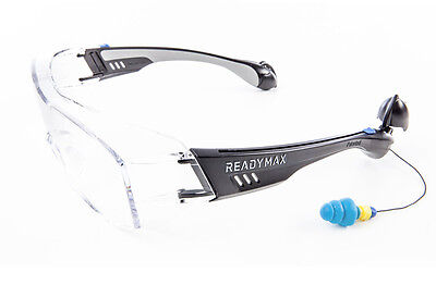 Readymax Fit Over Outdoor Safety Glasses With Earplugs Eye Hearing Protection