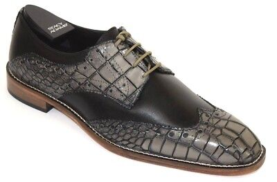 Men's Dress Shoes Wing Tip Oxford Gray/Black Leather STACY ADAMS TOMASELLI 25212 Black Leather Dress Shoes