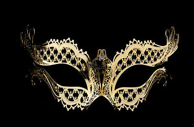 Mask Venetian Wolf IN Lace Metal Golden and Rhinestones Carnival Venice 1271
