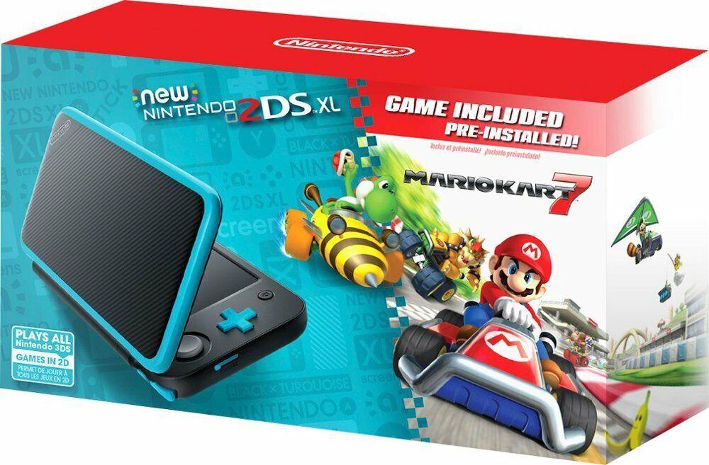 NEW Nintendo 2DS XL Mario Kart 7 Bundle Black Teal + Game Mario Kart INCLUDED
