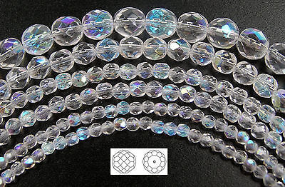 Czech Fire Polished Round Faceted Glass Beads, Crystal AB, clear Aurora Borealis