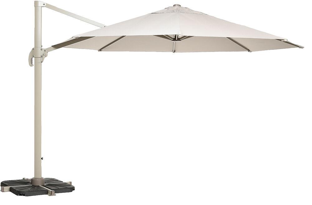 Parasol déporté en aluminium coloris Taupe - Dim : D 300 x H 254 cm