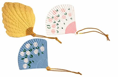 Miniature Dollhouse Set of 3 Assorted Fans 1:12 Scale New