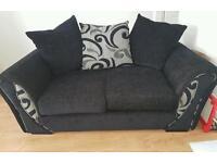 Black chenille 2 seater sofa