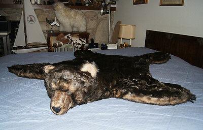 "BROWN BEAR RUG skin blanket FURRY prop aprx 50""x57"" bearskin suede like bottom"