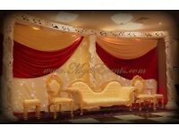 Cheap Chair Cover Hire 79p Wedding Stage Decoration £299 Wedding Pillars Hire £95 Guest Table Decor