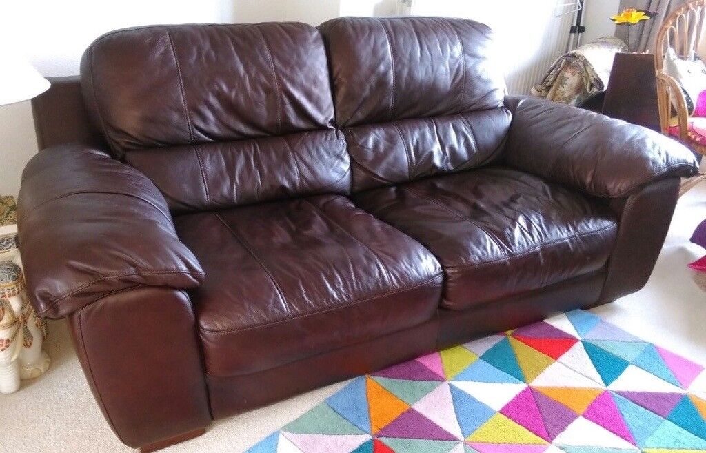 Brown Leather Three Piece Suite plus Footstool