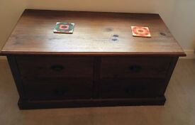Two piece Set - This is a lovely looking dark wood 4 draw chest/table & matching 10 draw CD stand