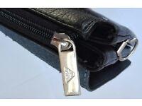Giorgio Armani Men's Leather New Cross Body Shoulder Messenger Bag - Soft Black