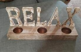 'Relax' candle holder