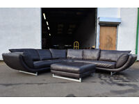 Large DFS brown leather corner sofa and large footstool DELIVERY AVAILABLE