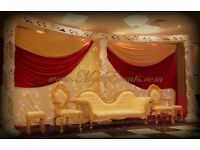 Wedding Stage Decoration £299 Head Table Decoration £199 Wedding reception styling £5pp Cutlery 19p