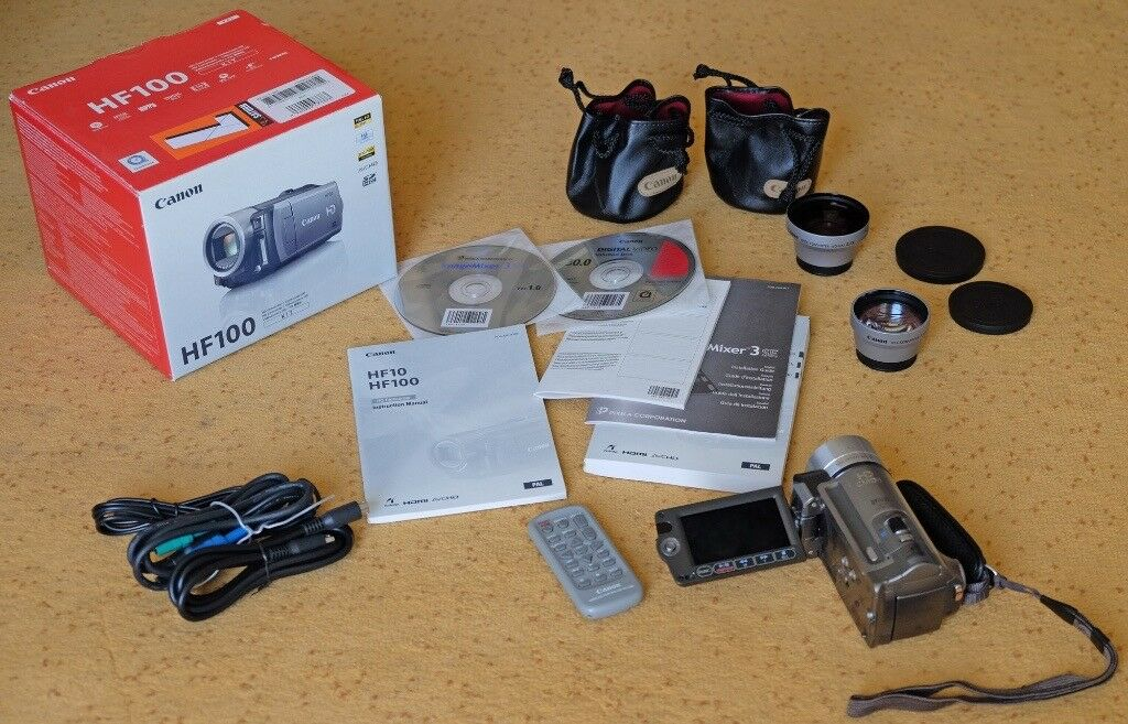 Canon HF100 HD Camcorder Remote Tele and Wide Converter