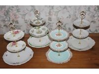 4x cake stands with golden fittings