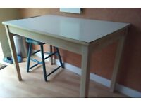 Vintage Retro White Formica Kitchen Dining Table Beech Frame Mid Century