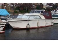 Birchwood Interceptor 25ft Cabin Cruiser River Boat, currently on the Thames.