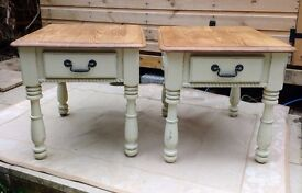 Pair of side/end/bedside/occasional tables. Sturdy. Shabby chic