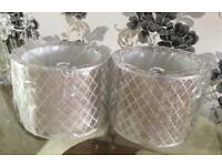 Gorgeous - Pair Of Silver 'Cut Out' - Pendant Lamp Shades - Brand New