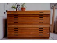 Mid-century oak plan chest