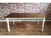 Large Extra-Wide Rustic Farmhouse Reclaimed Pine Kitchen Dining Table - Free Delivery