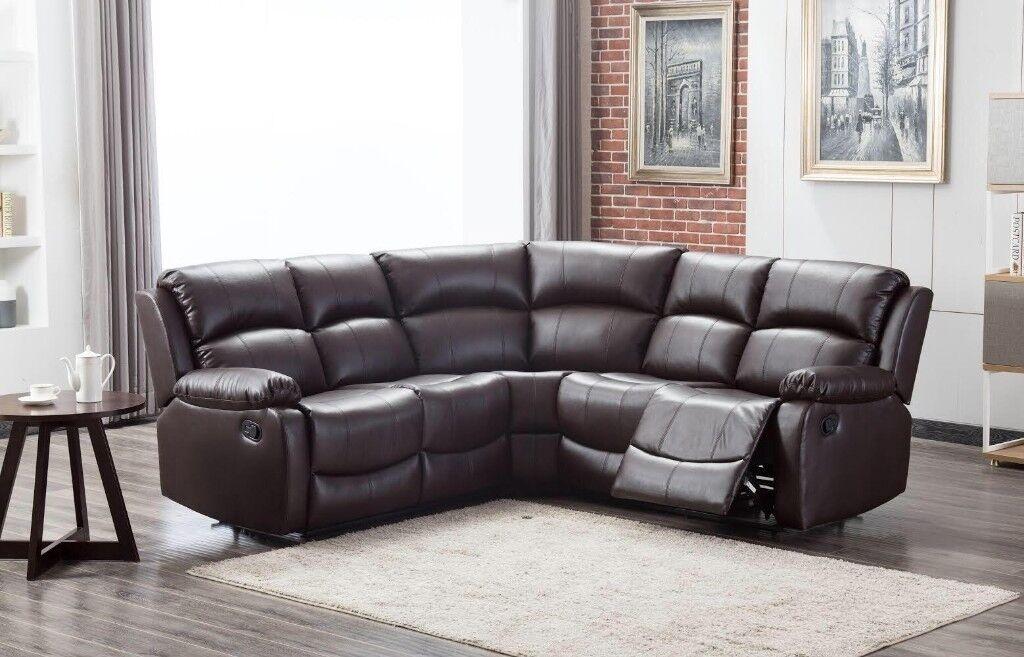 Christmas Brand New Arizona Leather Recliner Corner Sofa Black Brown