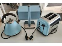 Morphy Richards Accents Kettle Toaster Bread Bin Kitchen Roll Holder Azure Blue Set