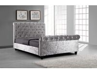 Stunning silver crushed velvet 4ft6 double sleigh bed with ortho mattress, Free delivery
