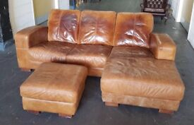 Distressed Style Real Leather Corner Sofa and Footstool. Can Deliver