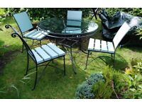 CAST IRON CONSERVATORY GARDEN PATIO TABLE & 4 CHAIRS