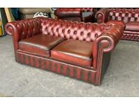 Oxblood Red leather 2 seat chesterfield sofa UK DELIVERY