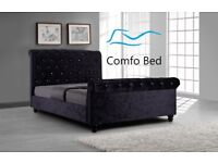 ON SALE !! Sleigh Bed Frame Chesterfield CRUSHED VELVET by Comfo Beds !