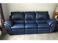 2 x Navy Leather Sofas for sale