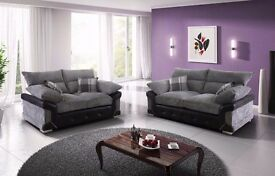 *COME AND VIEW IT ,TRY IT THEN BUY IT* BRAND NEW LOGAN DESIGNER FABRIC 3+2 SOFA SUITE BLACK/GREY