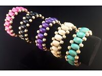 Tribal Ethnic African Style Wooden Bead Bracrlet - Expandable Wide Fit Bracelets