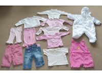 Baby Girl bundle clothes 3-6 months 12 items all in one, tops trousers