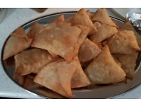 Homemade fresh samosas, curries, pilua, baryani..