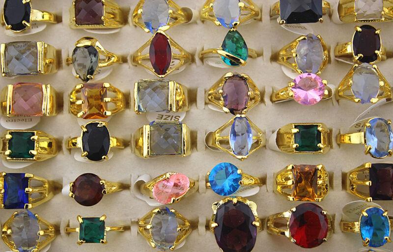 Wholesale Jewelry lots 35pcs Imitation CZ Gold Plated Colorful Fashion Rings
