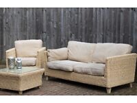 Conservatory Rattan Furniture Sofa, Armchair, Table from Marks & Spencer