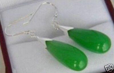 Stunning BEAUTIFUL GREEN JADE DROP DANGLE WOMEN'S EARRINGS - Green Jade Drop