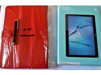 HUAWEI MEDIAPAD Model T3 -10 Inch TABLET-16GB BRAND NEW- Box Sealed. + Red leather Case